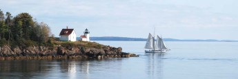 Curtis Island Lighthouse and Schooner APPLEDORE, October 2013. Copyright Candace Clifford