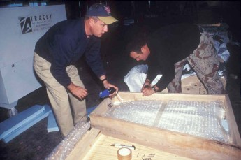 Crating Fire Island Lighthouse lens, 2000