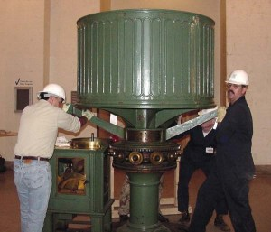 Disassembly of the Fire Island lens at the Franklin Institute.  (Cullen on left)