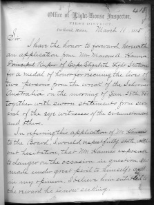 Letter submitting Marcus Hanna's application for a lifesaving medal.