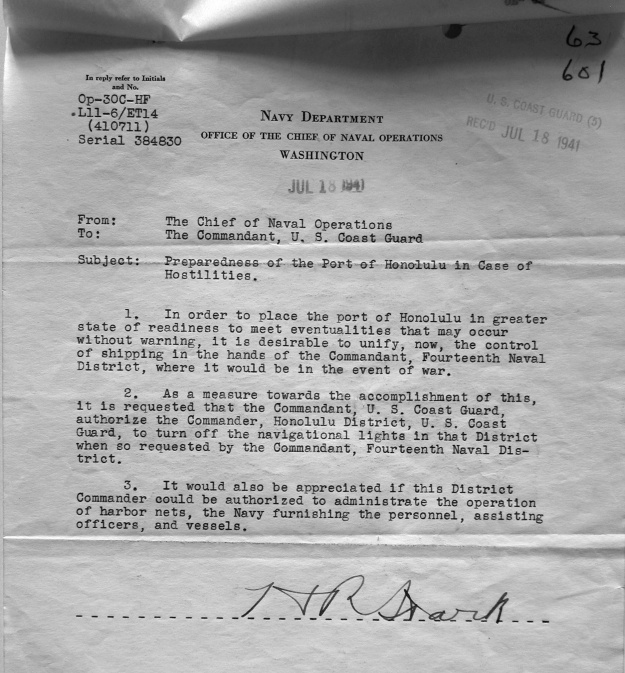 This memo found in National Archives, RG 26, Entry 82c, indicates that an incident such as the Pearl Harbor attack was not unanticipated.