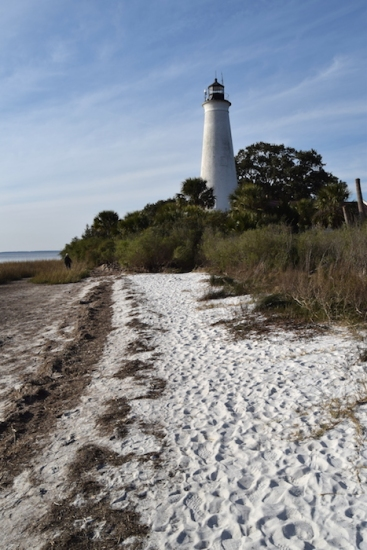 The 1842 St. Marks Lighthouse, located in the St. Marks Wildlife Refuge, has survived many hurricanes.