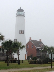 The reconstructed Cape St. George tower with its replica keepers greets you as you arrive on St. George Island.