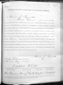 Oath of Office for Mary Reynolds, keeper at Pass Christian. (RG 217 Entry 282)