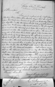 The local superintendent reports a fire at Point aux Barques Lighthouse where Catherine Shook was keeper. (RG 26 Entry 17C)