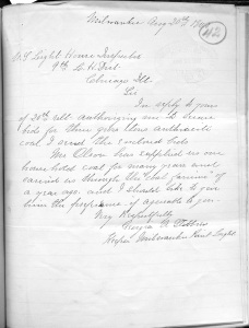 Most of the keeper letters in the field records are generally about routine matters--supplies, leaves of absences, requests for transfer, care of station or machinery, etc . (RG 26 Entry 6 (NC-63)