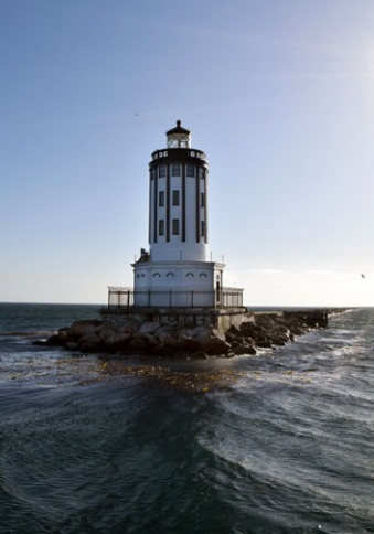 Marking the entrance to San Pedro Harbor, the San Pedro Breakwater Lighthouse was completed in 1913. Photo by Candace Clifford
