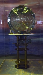The Fresnel lens from the Los Angeles Harbor Light is on display at the Los Angeles Maritime Museum.