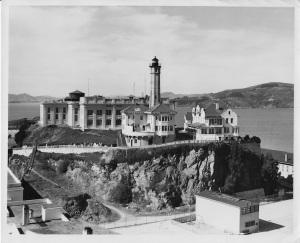 Alcatraz Lighthouse in 1954. Photo courtesy of U.S. Coast Guard