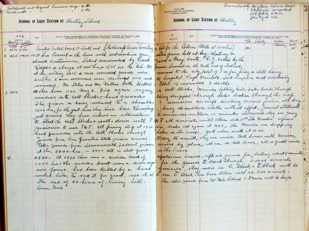 Alcatraz Lighthouse Keeper Henry Davis's Log for the first week of May 1946. Log found in National Archives RG 26 Entry 80. (Click on image for larger view.)