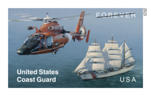 The U.S. Post Office issued this stamp today to commemorate the U.S. Coast Guard. It features the USCG training ship EAGLE